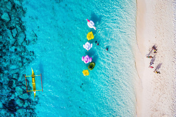 Aerial view of beach in Boracay Island, Western Visayas, Philippines.