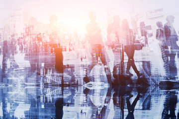silhouettes of business people, abstract crowd double exposure