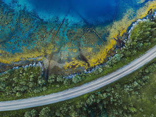Foto op Aluminium Luchtfoto beautiful aerial landscape with pattern of blue water, road and green forest, view from drone