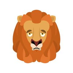 Lion sad emoji face avatar. Wild animal sorrowful emotions. Beast dull. Vector illustration