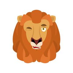 Lion winks emoji avatar. Face Wild animal happy emotion. Vector illustration