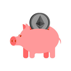 Pig piggy bank and etherium. Financial illustration. Accumulation of crypto currency. Vector illustration