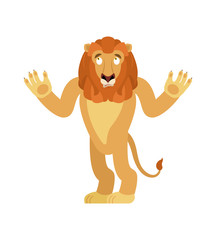 Lion confused emoji. Wild animal is perplexed emotions. Beast surprise. Vector illustration