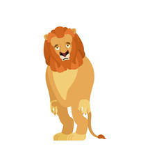 Lion sad. Wild animal sorrowful. Beast dull. Vector illustration