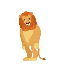 Lion sad. Wild animal sorrowful. Beast dull. Vector illustration