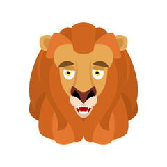 Lion happy emoji avatar. Wild animal merry emotion. Joyful beast. Vector illustration