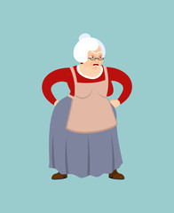 Grandmother angry emoji. Face grandma evil. Aggressive Old lady. Vector illustration