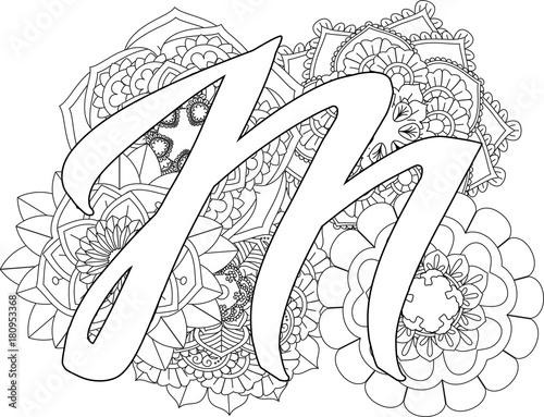 Mandala M Monogramlogo Doodle Floral Letters Coloring Book For Adult