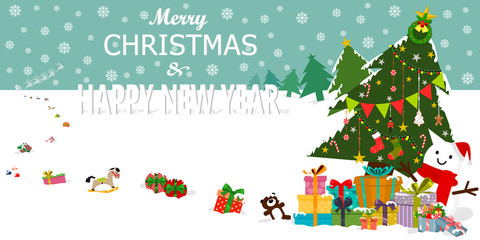 Greeting cards, poster or banner. Presents and gifts from Santa Claus. Santa Claus dropping present boxes and gifts along his way. Snowman with decorated tree and colorful packaged present boxes.