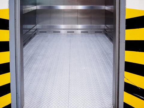 Modern elevator with open door