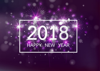 Happy new year 2018 with Firework on dark background for celebration, party, and new year event. Vector illustration