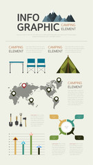 Camping Flat Design Info graphic
