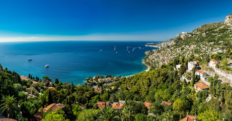 Panoramic view of Roquebrune Cap Martin showing coastline with yachts