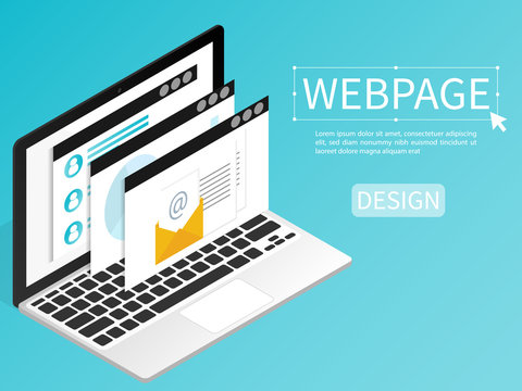 create website webpage design computer isometric flat vector
