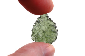 green moldavite mineral from czech republic isolated