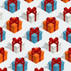 isometric giftbox seamless pattern vector