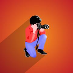 photographer isolated flat
