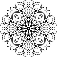 Mehndi henna Indian mandala flower for tatoo or card.
