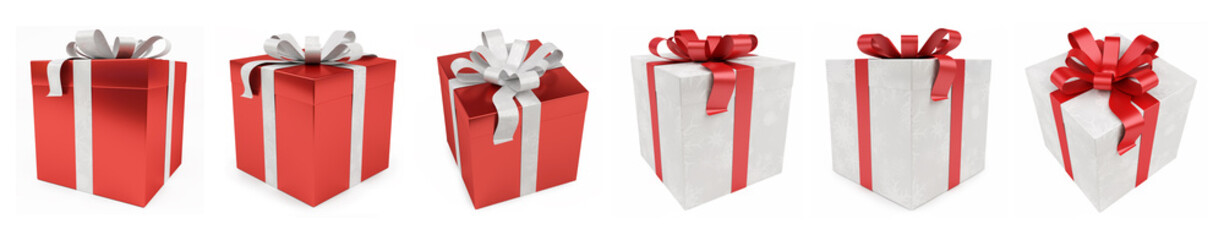 Red christmas gift isolated 3D rendering