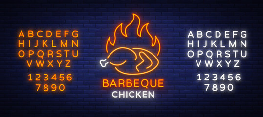 Logo Chicken Barbecue is a neon-style logo for a food store and a restaurant. Neon sign, night bright advertising chicken grill. Vector illustration. Editing text neon sign. Neon alphabet