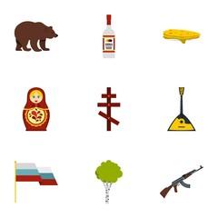 Symbols representing Russia icons set, flat style