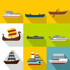 Maritime transport icons set, flat style