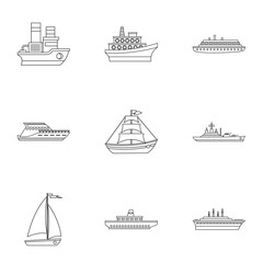 Boat icons set, outline style