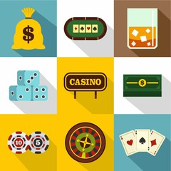 Gambling house icons set, flat style