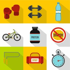 Sport icons set, flat style