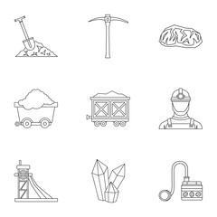Coal mining icons set, outline style