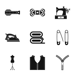 Tools for sewing dresses icons set, simple style