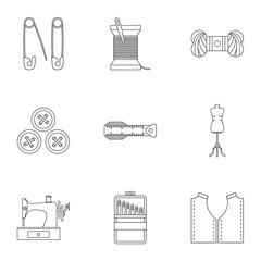 Embroidery kit icons set, outline style