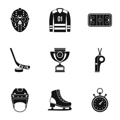 Hockey game icons set, simple style