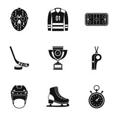 Hockey game icons set, simple style