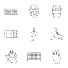 Hockey icons set, outline style