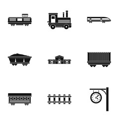 Train icons set, simple style