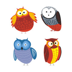 Owls cartoon kid funny characters with feather ornament.