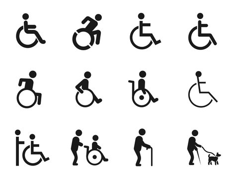 disabled handicap icons set, vector illustration on white background
