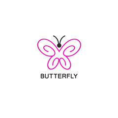 Vector logo design template in linear style - abstract butterfly with pink wings.