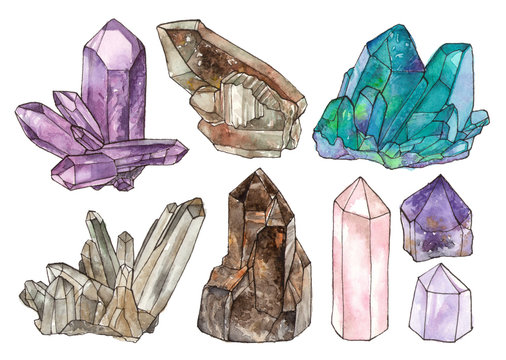 watercolor illustrations crystals and gemstones. hand painted isolated elements.