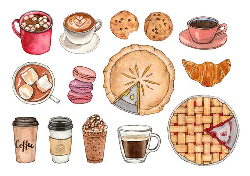 watercolor illustrations coffee and sweets. hand painted isolated elements.