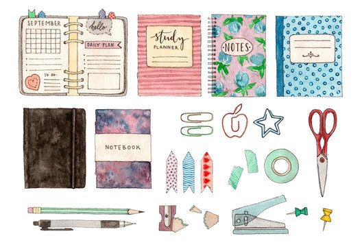 back to school. watercolor set of illustrations. stationery and school stuff. hand painted isolated elements.