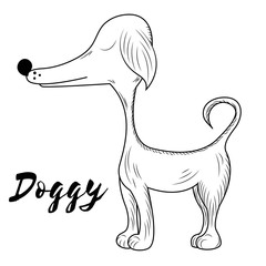 Vector Doggy. Hand made sketch. Symbol of 2018. Page for coloring book. Doodle