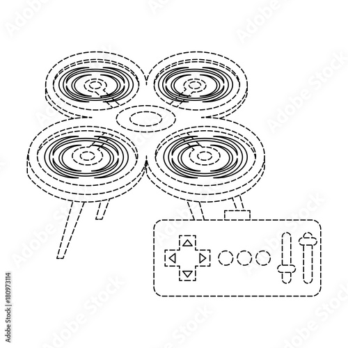 Drone With Remote Control Device Technologies Design Vector