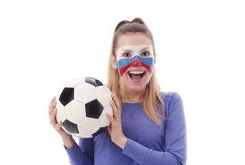 Portrait of female soccer fan with painted face