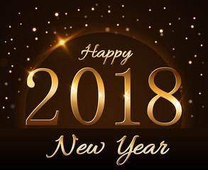 Happy New Year background with magic gold rain and globe. Golden numbers 2018 on horizon. Christmas and New Year night glitter planet design. Light, sparkle, glitter Vector illustration