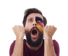 Ecstatic male german fun cheering