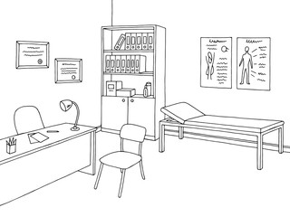 Doctor office graphic black white interior sketch illustration vector