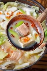 Japanese cuisine - Ishigari Nabe -  Salmon Hot Pot
