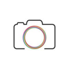 Photo camera logo with colorful circle